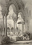 """Cloister of San Domenico church in Palermo, Italy. Original by Leitch and La Reux. Published in """"The Shores and Islands of Mediterranean"""", Fisher, Sons & Co. of London and Paris, c. 1840"""