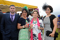 Pictured enjoying the summer fayre on the Ross Hotel / Lane Bar Champagne &amp; Cocktail Marquee at Killarney Races ladies Day on Thursday were from left,  Stephen and Liz O'Connor, Boolteens, Eileen o'Sullivan, castlemaine and Siobhan O'Donoghue, Keel.<br /> Picture by Don MacMonagle<br /> <br /> <br /> PR Photo from Ross Hotel