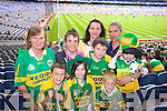 Mary and Padraig Cremin Beaufort, Denis Kirrisk Tralee, Ciara, Robert, Siobhan, and Frank Fell Firies, Oisin Cronin, Beaufort and Padraig Fell Firies Supporting Kerry at Croke park on Sunday.
