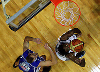Saints' Nick Horvath and Kareem Johnson compete for a rebound during the NBL Basketball match between the Wellington Saints and Bay Hawks, TSB Bank Arena, Wellington, New Zealand on Saturday, 10 May 2008. Photo: Dave Lintott / lintottphoto.co.nz