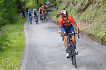 Vincenzo Nibali (ITA) Bahrain-Merida attacks on the Mortirolo climb during Stage 16 of the 2019 Giro d'Italia, running 194km from Lovere to Ponte di Legno, Italy. 28th May 2019<br /> Picture: POOL Luca Bettini/LaPresse | Cyclefile<br /> <br /> All photos usage must carry mandatory copyright credit (© Cyclefile | POOL Luca Bettini/LaPresse)