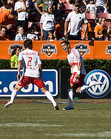 New York Red Bulls forward Juan Pablo Angel (9) and defender Kevin Goldthwaite (2)celebrate a penalty kick goal.  New York Red Bulls defeated Houston Dynamo 3-0 for an aggregate  score of 4-1 over Houston Dynamo   at Robertson Stadium in Houston, TX on November 9, 2008 in the second leg of the Western Conference semifinals.  Photo by Wendy Larsen/isiphotos.com