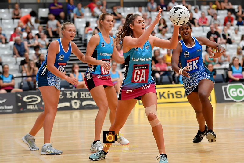 Steel Jennifer O'Connell in action during the Netball Pre Season Tournament - Mystics v Steel at Ngā Purapura, Otaki, New Zealand on Saturday 9 February  2019. <br /> Photo by Masanori Udagawa. <br /> www.photowellington.photoshelter.com