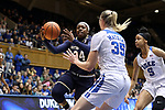 DURHAM, NC - FEBRUARY 04: Notre Dame's Arike Ogunbowale (24) drives against Duke's Erin Mathias (35). The Duke University Blue Devils hosted the University of Notre Dame Fighting Irish on February 4, 2018 at Cameron Indoor Stadium in Durham, NC in a Division I women's college basketball game. Notre Dame won the game 72-54.