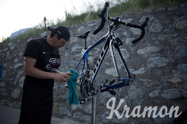 post-race cleaning of the bikes at the Team Orica-GreenEDGE hotel<br /> <br /> Giro d'Italia 2015<br /> stage 19: Gravellona Toce - Cervinia (236km)