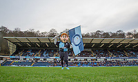 Bodger the Club Mascot flies the flag pre match during the Sky Bet League 2 match between Wycombe Wanderers and Crawley Town at Adams Park, High Wycombe, England on 28 December 2015. Photo by Andy Rowland / PRiME Media Images