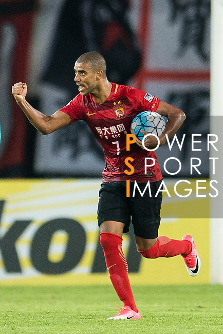 Guangzhou Forward Alan Douglas De Carvalho (C) celebrating his score during the AFC Champions League 2017 Quarter-Finals match between Guangzhou Evergrande (CHN) vs Shanghai SIPG (CHN) at the Tianhe Stadium on 12 September 2017 in Guangzhou, China. Photo by Marcio Rodrigo Machado / Power Sport Images