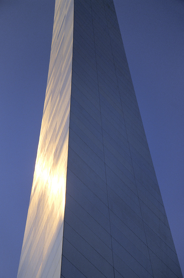 A segment of the Gateway Arch at sunset, Jefferson National Expansion Memorial, Saint Louis, Missouri