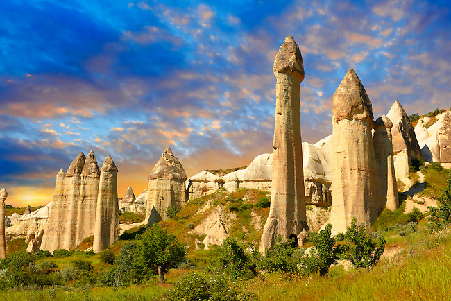 The Fairy Chimneys of Love Valley at sunrise - Cappadocia Turkey