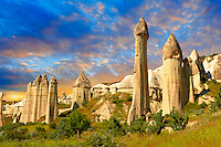The Fairy Chimneys of Love Valley at sunrise - Cappadocia Turkey