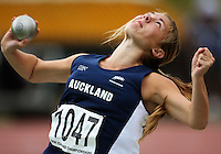 Auckland's Elizabeth Doyle competes in the women's under-16 shot put during the National athletics championships at Newtown Park, Wellington, New Zealand on Friday, 27 March 2009. Photo: Dave Lintott / lintottphoto.co.nz