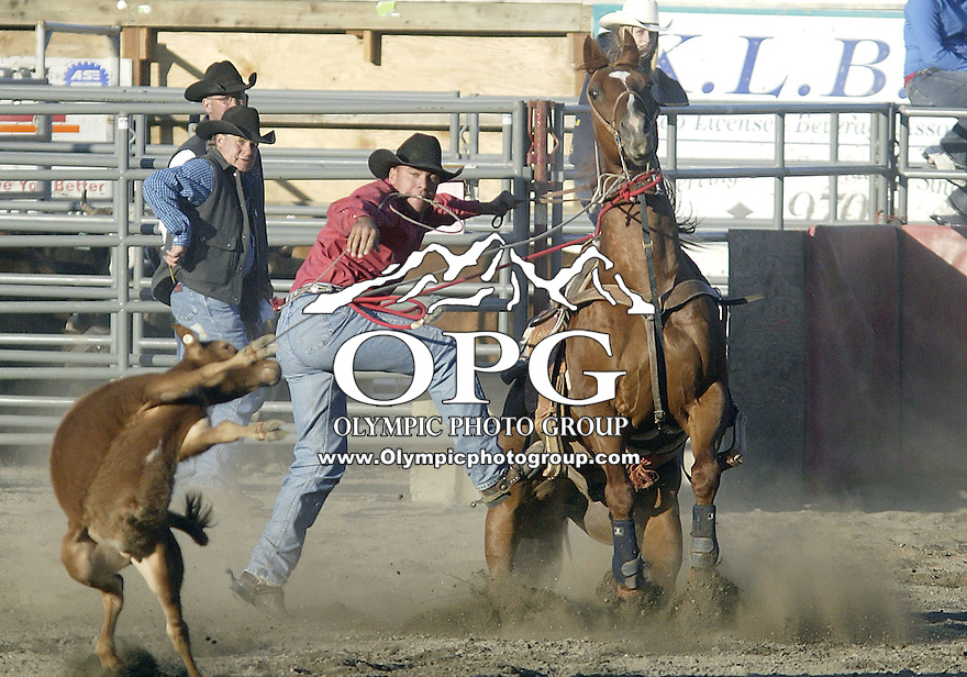 23 June 2007:   Mark Black scored a time of 13.4 in the Tie Down Roping competition at the Kitsap County Thunderbird Benefit Pro Rodeo in Bremerton, Washington.