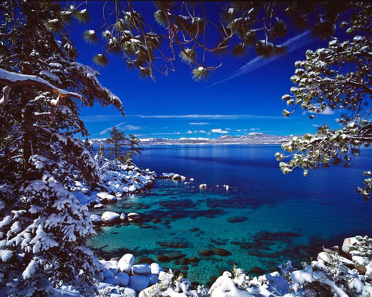 Lake Tahoe Scenic Emerald Waters Winter Frame