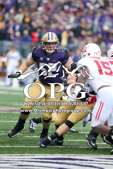 03 September 2016:  Washington's Jake Eldrenkamp against Rutgers.  Washington defeated Rutgers 48-13 at the University of Washington in Seattle, WA.  (Photo by Jesse Beals/Icon Sportswire)