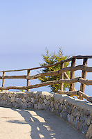 Wooden Fence on the viewing point near the chasm of the sea