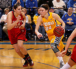 BROOKINGS, SD - FEBRUARY 21:  Megan Waytashek #24 from South Dakota State drives against Lisa Loeffler #44 from the University of South Dakota in the second half of their game Saturday evening at Frost Arena in Brookings. (Photo by Dave Eggen/Inertia)