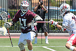 Orange, CA 05/01/10 - Andrew Salcido (Chapman # 28) and Magnus Karlsson (LMU # 17) in action during the LMU-Chapman MCLA SLC semi-final game in Wilson Field at Chapman University.  Chapman advanced to the final by defeating LMU 19-10.