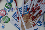 Pro-independence souvenirs on display outside a polling station in Shawlands, Glasgow on the day of the independence referendum. Yes Scotland were campaigning for the country to leave the United Kingdom, whilst Better Together were campaigning for Scotland to remain in the UK. On the 18th of September 2014, the people of Scotland voted in a referendum to decide whether the country's union with England should continue or Scotland should become an independent nation once again and leave the United Kingdom.