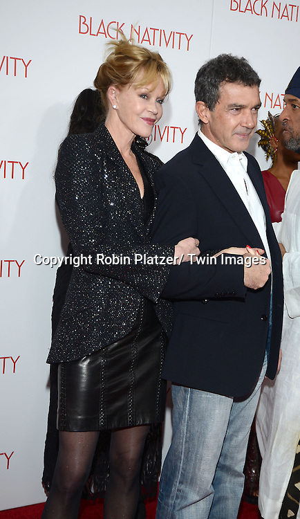 Melanie Griffith and Antonio Banderas attend the New York Premiere of &quot;Black Nativity&quot; on <br /> November 18, 2013 at the Apollo Theater in New York City.