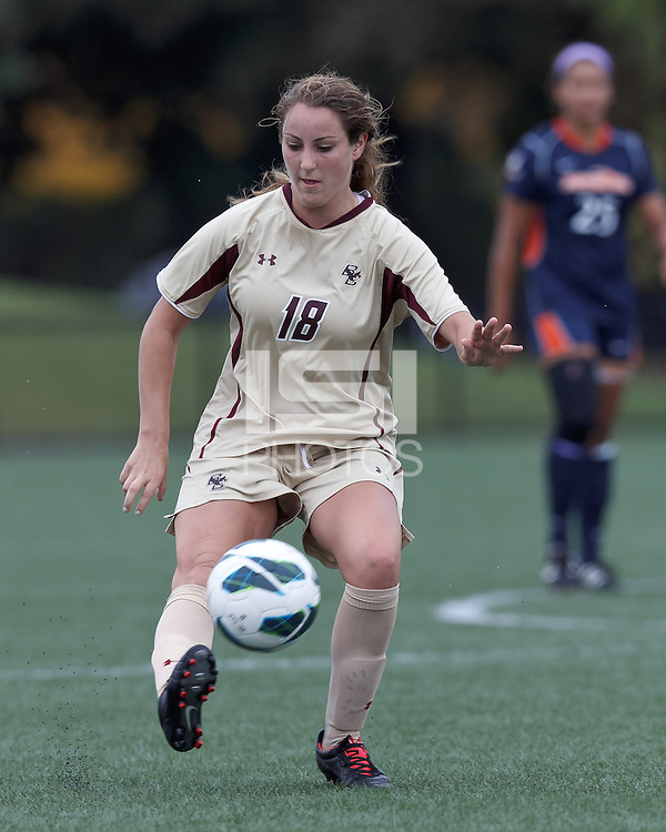 Boston College midfielder Patrice Vettori (18) passes the ball. Pepperdine University defeated Boston College,1-0, at Soldiers Field Soccer Stadium, on September 29, 2012.