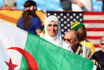 23 JUN 2010:  Female Algeria fan in the stands with national flag.  The United States National Team played the Algeria National Team at Loftus Versfeld Stadium in Tshwane/Pretoria, South Africa in a 2010 FIFA World Cup Group C match.