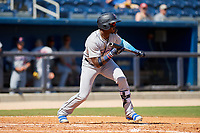 Jacksonville Jumbo Shrimp center fielder Monte Harrison (3) squares around to bunt during a game against the Biloxi Shuckers on May 6, 2018 at MGM Park in Biloxi, Mississippi.  Biloxi defeated Jacksonville 6-5.  (Mike Janes/Four Seam Images)