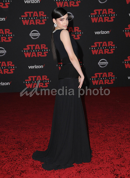 "09 December  2017 - Los Angeles, California - Sofia Carson. Premiere Of Disney Pictures And Lucasfilm's ""Star Wars: The Last Jedi"" held at The Shrine Auditorium  in Los Angeles Photo Credit: Birdie Thompson/AdMedia"