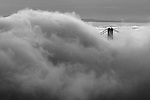 Fog rises over the Golden Gate Bridge as seen from the Marin Headlands of California.