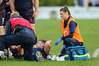 Medics attend to an injured London Scottish player during the Greene King IPA Championship match between London Scottish Football Club and Hartpury RFC at Richmond Athletic Ground, Richmond, United Kingdom on 28 October 2017. Photo by David Horn.
