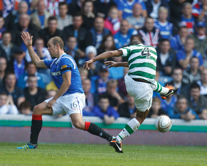 Baddur Ek Kaddouri shoots at Allan McGregor who fumbles his shot for Celtic's second goal