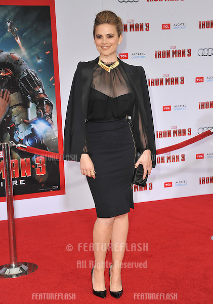 "Hayley Atwell at the Los Angeles premiere of ""Iron Man 3"" at the El Capitan Theatre, Hollywood..April 24, 2013  Los Angeles, CA.Picture: Paul Smith / Featureflash"