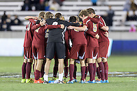 Houston, TX - Friday December 9, 2016: The Denver Pioneers huddle prior to the overtime round against the Wake Forest Demon Deacons at the NCAA Men's Soccer Semifinals at BBVA Compass Stadium in Houston Texas.