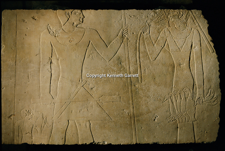 A limestone stela, birds, lotus, Old Kingdom, Art had been robbed then returned