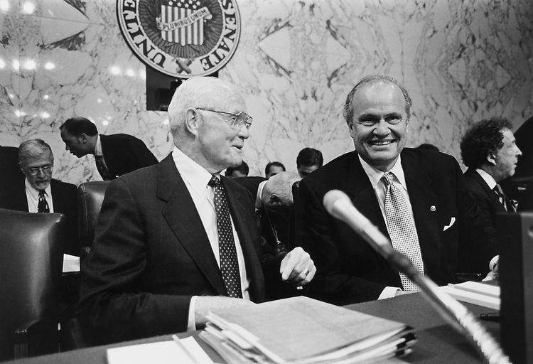 Sen. John Glenn, D-Ohio, and Sen. Fred Thompson, R-Tenn., at the start of the first day of hearings on campaign finance wrongdoing on July 8, 1997. (Photo by Maureen Keating/CQ Roll Call via Getty Images)