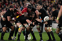 Sam Whitelock passes to Aaron Smith under pressure from Maro Itoje during the 2017 DHL Lions Series rugby union 3rd test match between the NZ All Blacks and British & Irish Lions at Eden Park in Auckland, New Zealand on Saturday, 8 July 2017. Photo: Dave Lintott / lintottphoto.co.nz