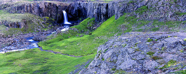 Waterfall coming down Breiddalsheidi east Iceland. Images taken with Hasselblad Xpan camera and Fuji Velvia film.