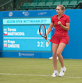 June 10th 2017,  Nottingham, England; WTA Aegon Nottingham Open Tennis Tournament day 1; Fist pump from Tereza Martincova of The Czech Republic as she heads towards victory over Freya Christie of Great Britain