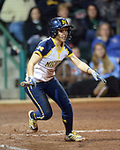 Michigan Wolverines Softball infielder Abby Ramirez (1) at bat during a game against the University of South Florida Bulls on February 8, 2014 at the USF Softball Stadium in Tampa, Florida.  Michigan defeated USF 3-2.  (Copyright Mike Janes Photography)