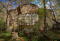 Ruins of the abandoned Chewaukla Bottling Factory in Hot Springs Arkansas. During the 1930&rsquo;s, investors from Chicago constructed a complex of yellow brick buildings with a park for large groups of tourists to come drink from the springs.<br /> <br />     The main building, where grand windows, marbles floors, and sliding doors create a unique combination of cultures. The front door sits below a large stone medallion of a beautiful maiden, that being Chewaukla, which is still visible to this day. Hidden behind the main building lies two yellow brick gazebos with a well in the center of each, both made of quartz and white tile.<br /> Today, the factory is in absolute ruin.