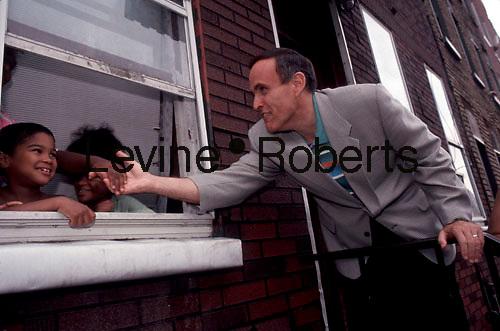 Rudy Giuliani campaigns for mayor in Bushwick, Brooklyn  in September, 1993. (© Richard B. Levine)