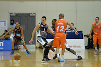 Kevin Braswell and Jarrod Kenny in action during the NBL Final Four - Hawks v Sharks at TSB Bank Arena, Wellington, New Zealand on Friday 4 July 2014. <br /> Photo by Masanori Udagawa. <br /> www.photowellington.photoshelter.com.