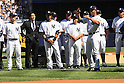 Mariano Rivera (Yankees),<br /> SEPTEMBER 22, 2013 - MLB :<br /> Mariano Rivera of the New York Yankees acknowledges fans as Hideki Matsui (2nd L) watches him during his retirement ceremony before the Major League Baseball game against the San Francisco Giants at Yankee Stadium in The Bronx, New York, United States. (Photo by Thomas Anderson/AFLO) (JAPANESE NEWSPAPER OUT)
