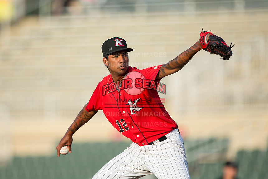 Kannapolis Intimidators starting pitcher Luis Martinez (12) in action against the West Virginia Power at Kannapolis Intimidators Stadium on July 19, 2017 in Kannapolis, North Carolina.  The Power defeated the Intimidators 7-4 in 11 innings.  (Brian Westerholt/Four Seam Images)