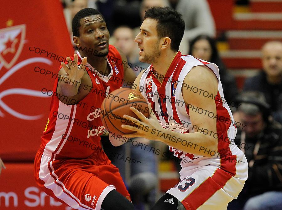 Kosarka ABA League season 2015-2016<br /> Crvena Zvezda v Cedevita<br /> Vasilije Micic and James White<br /> Beograd, 04.01.2015.<br /> foto: Srdjan Stevanovic/Starsportphoto&copy;