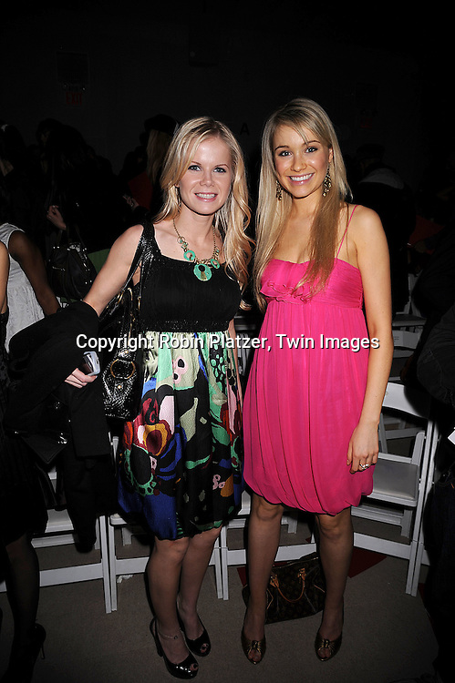 Crystal Hunt and Katrina Bowden of 30 Rock..at the Vivienne Tam Fall 2008 Fashion Show at Mercedes-Benz Fashion Week New York at Bryant Park on February 5, 2008. ....Robin Platzer, Twin Images..212-935-0770
