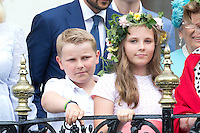 TRONDHEIM, NORWAY - JUNE 23:  Prince Sverre Magnus, and his sister Princess Ingrid Alexandra of Norway, attend a Garden Party at the Royal Residence, Stiftsgarden,  on a visit to Trondheim, during the King and Queen of Norway's Silver Jubilee Tour, on June 23, 2016 in Trondheim, Norway