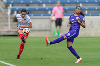 Bridgeview, IL - Saturday July 22, 2017: Taylor Comeau, Marta Vieira Da Silva during a regular season National Women's Soccer League (NWSL) match between the Chicago Red Stars and the Orlando Pride at Toyota Park. The Red Stars won 2-1.