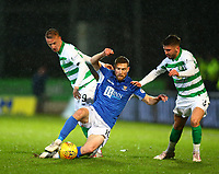 29th January 2020; McDairmid Park, Perth, Perth and Kinross, Scotland; Scottish Premiership Football, St Johnstone versus Celtic; Leigh Griffiths of Celtic challenges David Wotherspoon of St Johnstone