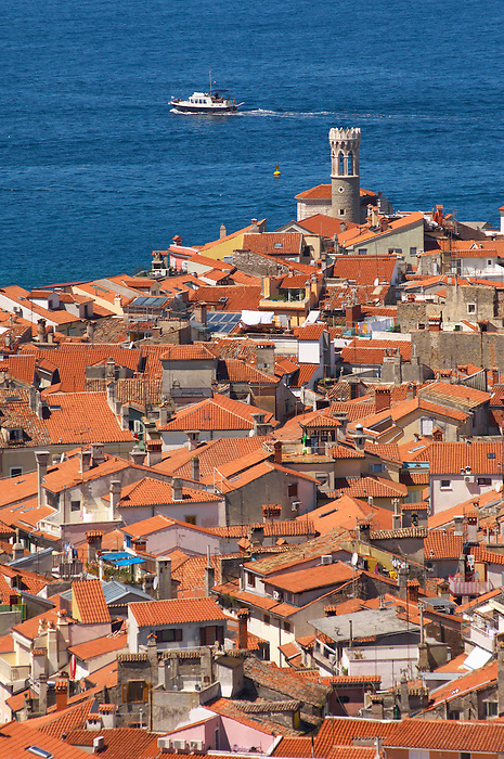 iew oer the roof tops with sea in the distance. Piran , Slovenia