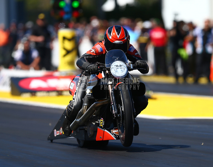Mar 18, 2017; Gainesville , FL, USA; NHRA pro stock motorcycle rider Eddie Krawiec during qualifying for the Gatornationals at Gainesville Raceway. Mandatory Credit: Mark J. Rebilas-USA TODAY Sports
